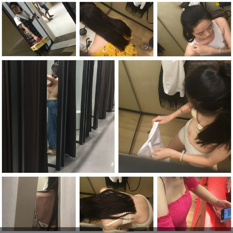 Photographs taken in the fitting rooms of shopping malls show sexually attractive women taking turns trying on clothes.